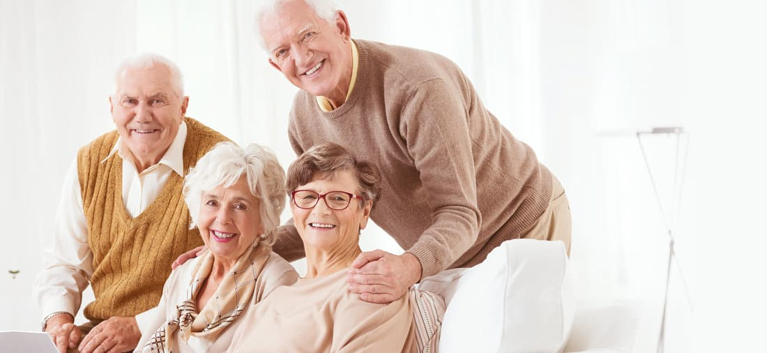 elderly people smiling