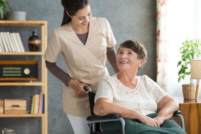 senior woman with a caregiver